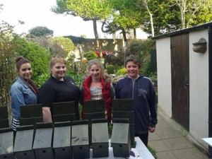 Rebecca O'Reilly, far left, with Foróige members and their bird boxes.