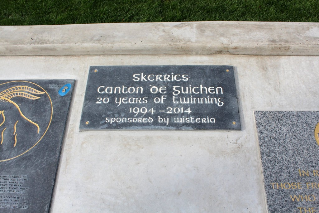 commemorative plaque in Floraville Park, Skerries