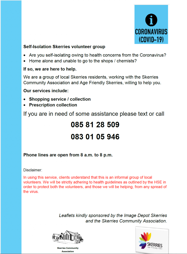 Image of the COVID-19 leaflet being delivered to Skerries households (text is the same as this post).